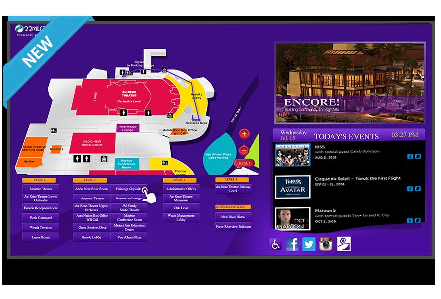 touchscreen arena wayfinding digital signage