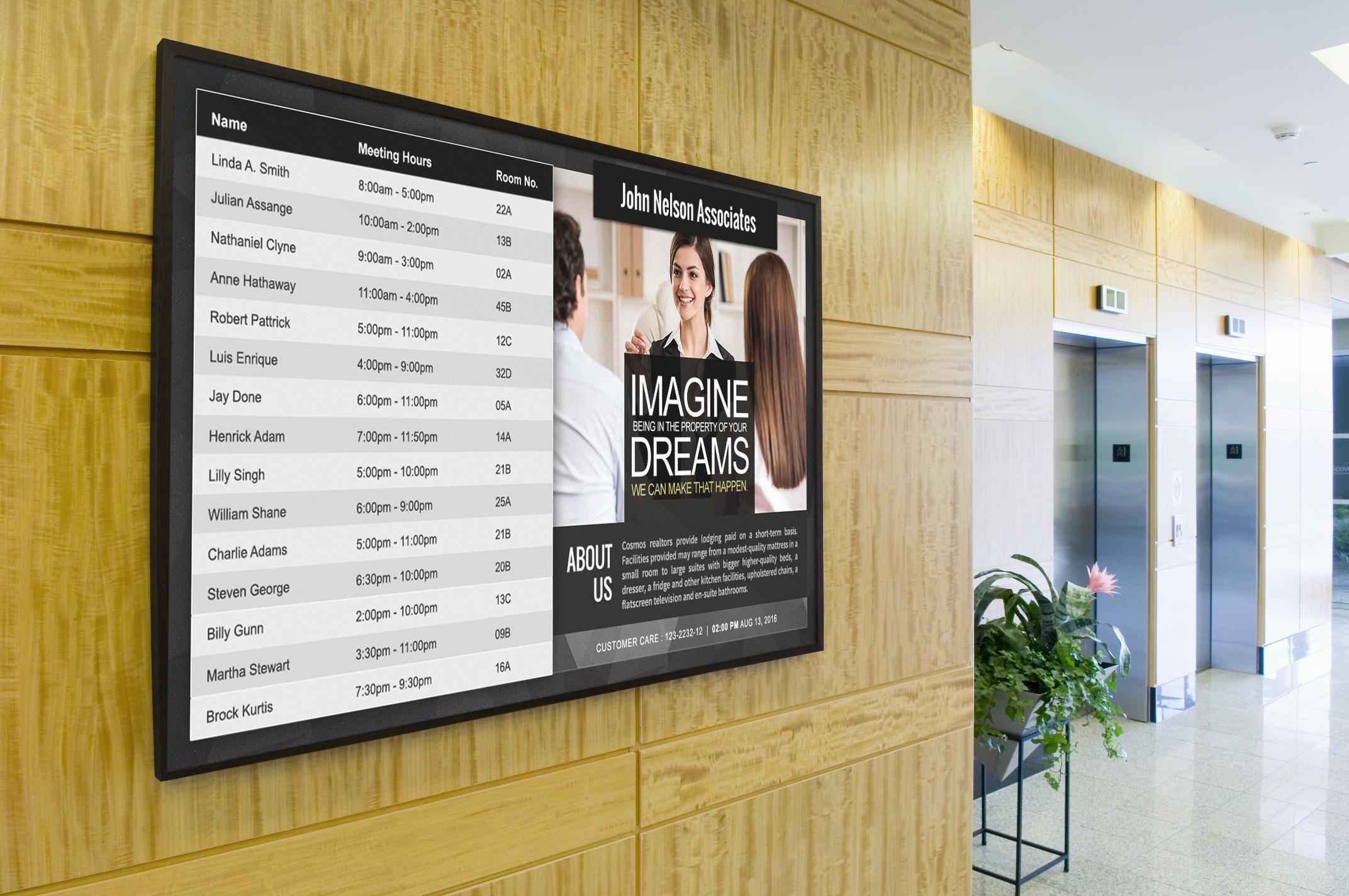digital directory in lobby