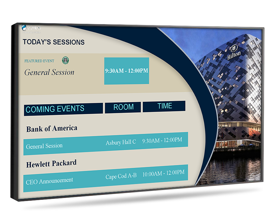 hotel event board digital signage