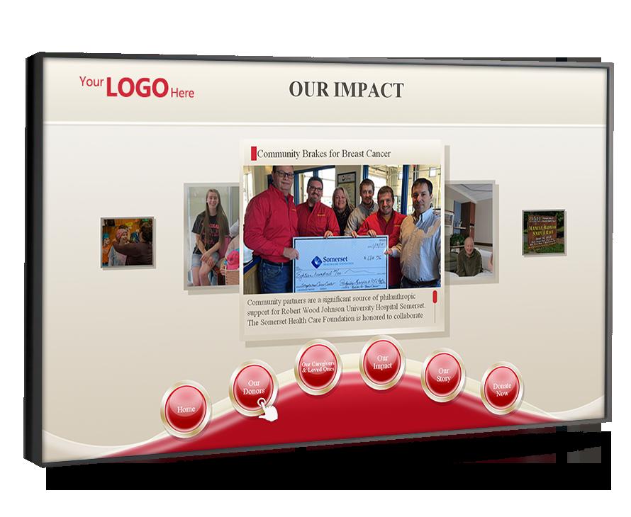 donor reconigition digital signage