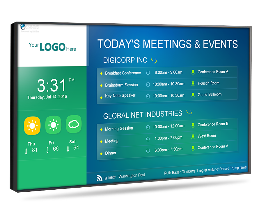 digital signage for displaying meeting times