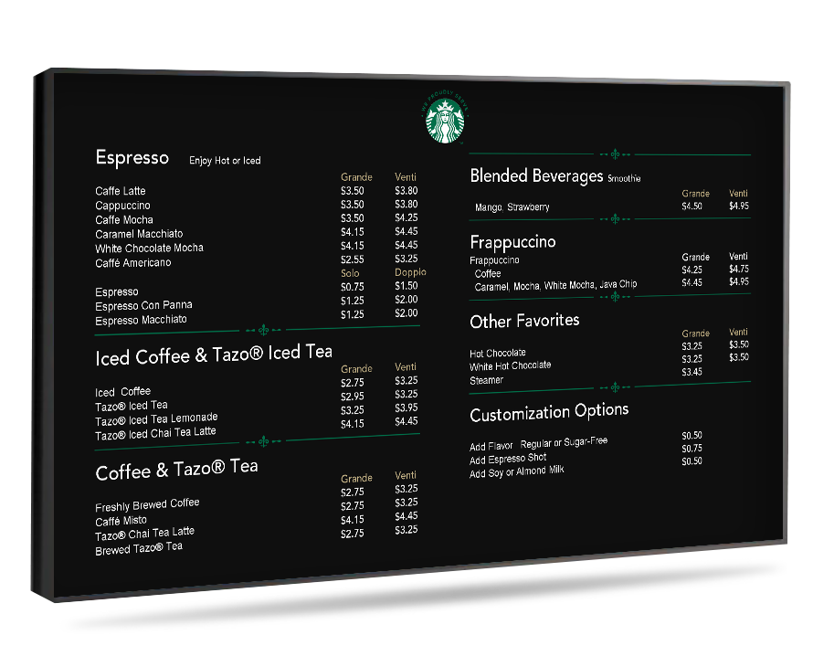 Digital Menu Boards ok4