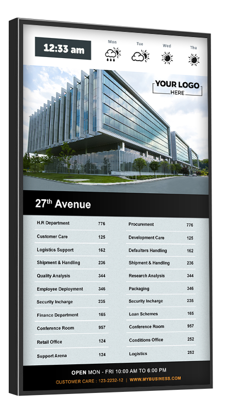 The directory can be structured by per floor, destination name, or suite number