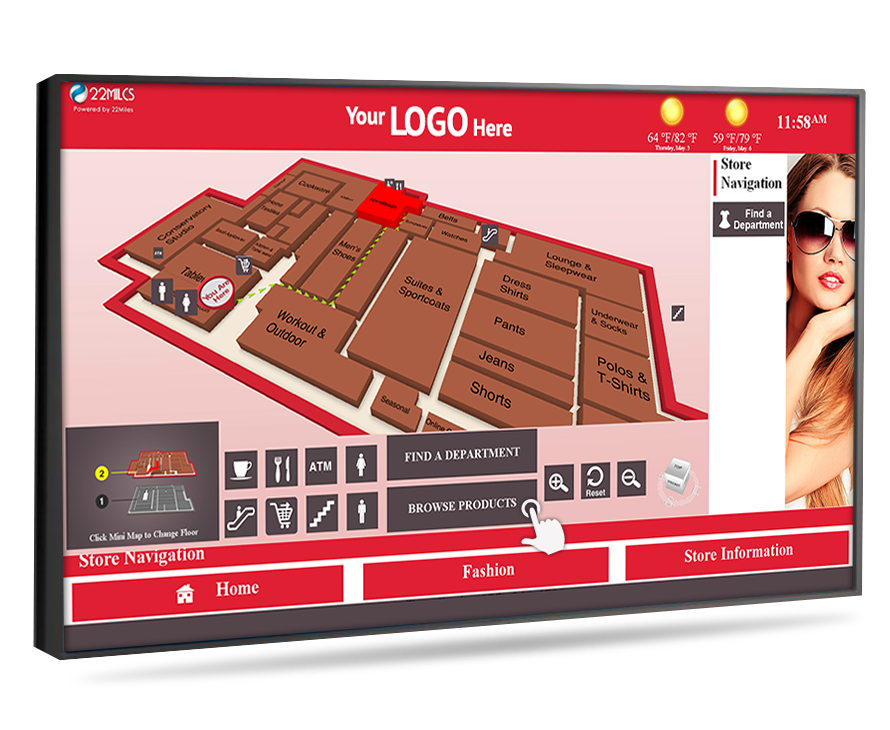 wayfinding digital signage for malls