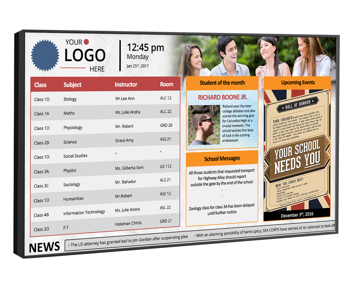 digital signage for colleges