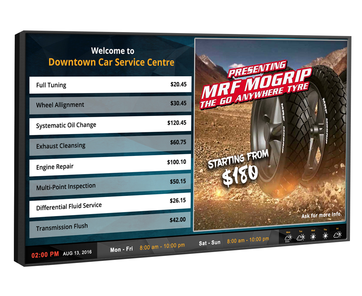 oil change digital signage