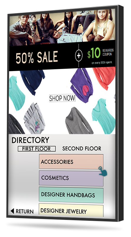 retail touch screen digital directory