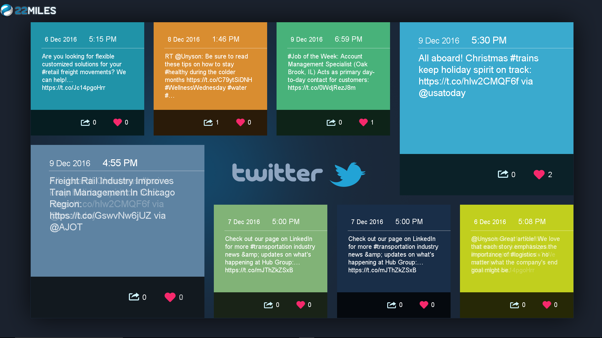 Twitter, Yelp, Foursquare, LinkedIn, and YouTube can be connected for real-time feeds